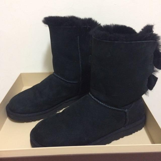 UGG 秋冬雙蝴蝶結中筒雪靴 24號/黑色