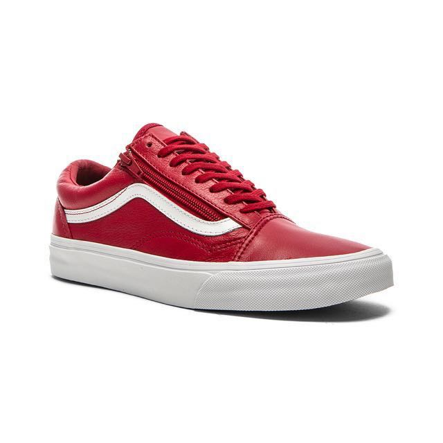 US8.5) Vans Old Skool Zip Red Leather
