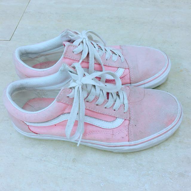 降價!Vans 粉紅麂皮滑板鞋 23號
