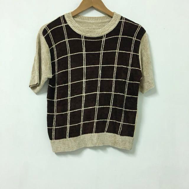 Vintage 復古方格薄針織上衣