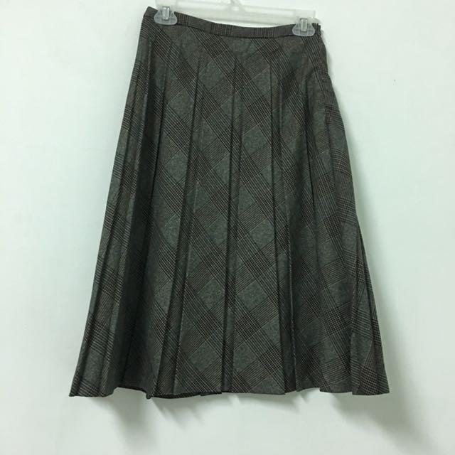 Vintage 韓製復古格紋百摺裙