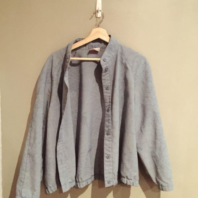 Vintage chambray bomber style jacket