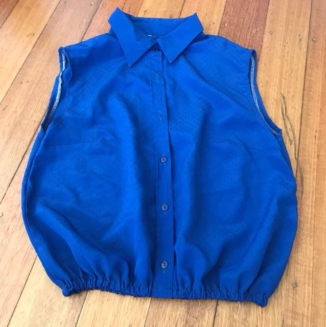 Vintage Elastic blue button down shirt