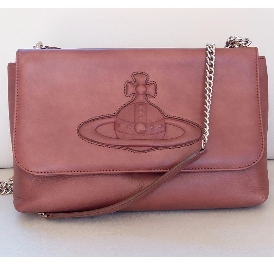 VIvienne Westwood Brown Leather Clutch Embossed Logo Shoulder Bag