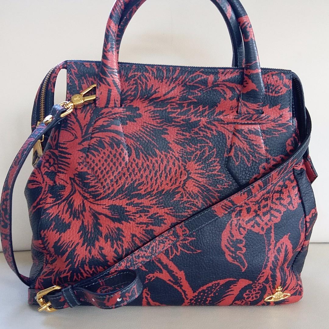 Vivienne Westwood Leather Red and Black Pattern Handbag Shoulder Bag