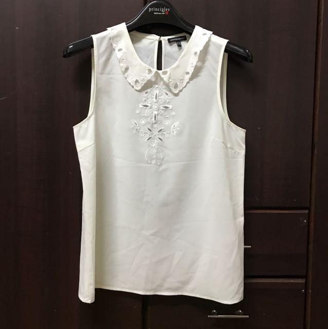 Warehouse white sleeveless blouse
