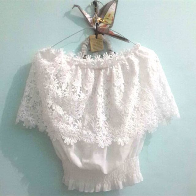 White Sabrina Lace Top