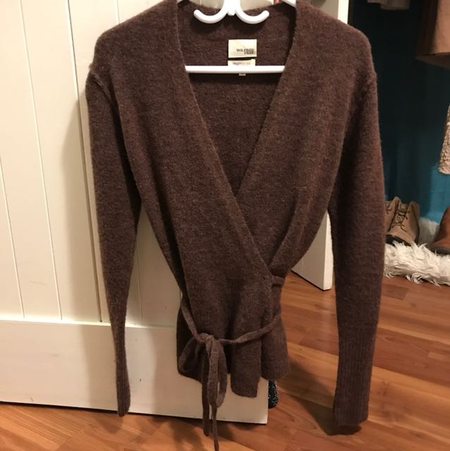 Wilfred Burgundy Wool Wrap Around Sweater