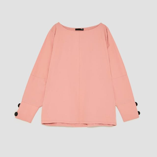 ZARA faded pink long sleeve top with black buttons