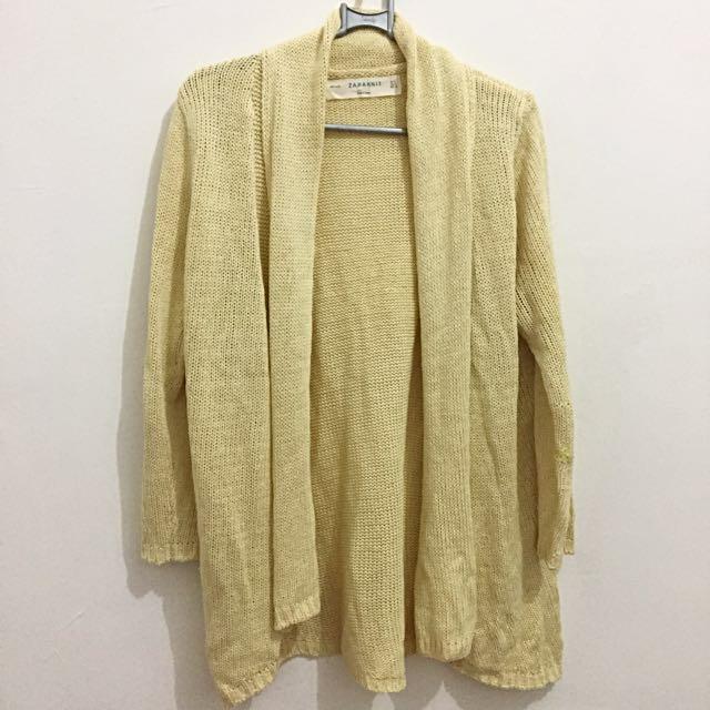 Zara Knit yellow cardigan
