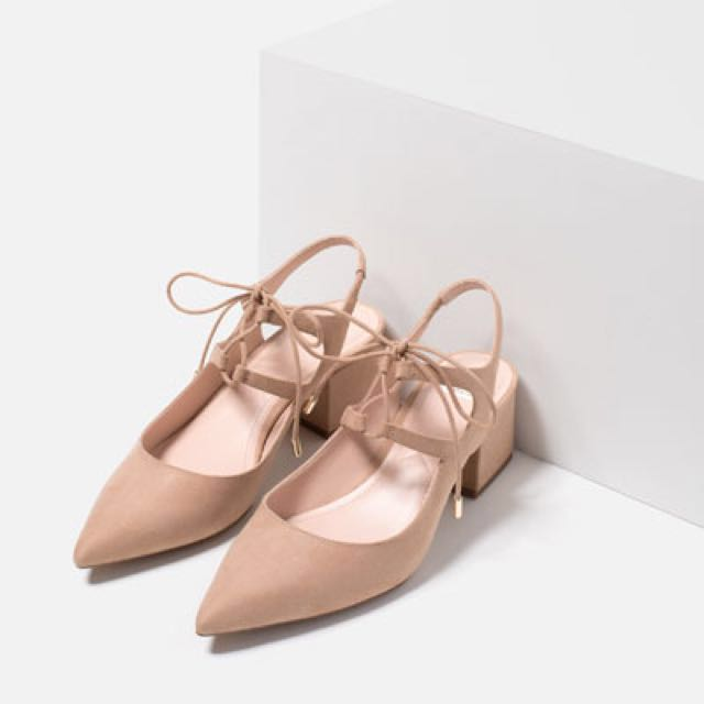 ZARA Nude Lace Up Pointed High Heels Sz 39