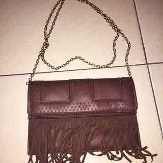 sling bag bohemian dark brown