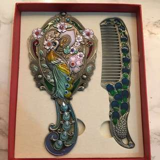 Vintage Inspired Peacock Mirror And Comb Set