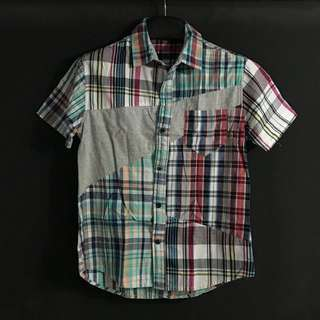 男裝 - 短袖 拼質材料 格仔 襯衫