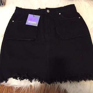 REDUCED Black Denim Skirt - Missguided