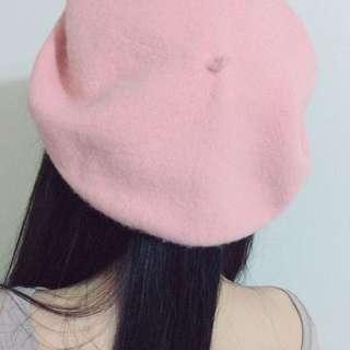 正韓粉色貝蕾帽/羊毛