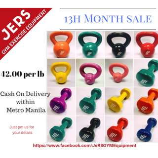 Kettlebell and Vinyl Dumbbell