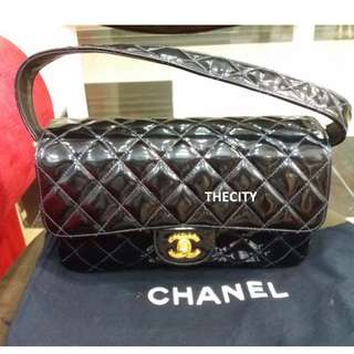 AUTHENTIC CHANEL DOUBLE SIDED FLAP BAG ,  IN PATENT LEATHER
