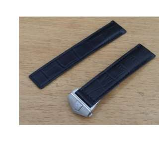 Tali Jam Tangan Kulit Hitam Black Leather Watch Band Strap TAG HEUER