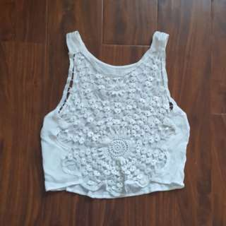 White Lace Like Crop Top