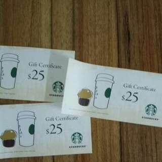 Starbucks現金券 25蚊  x 3張