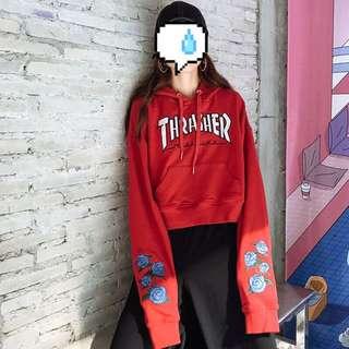 M L XL thrasher crop top hoodie
