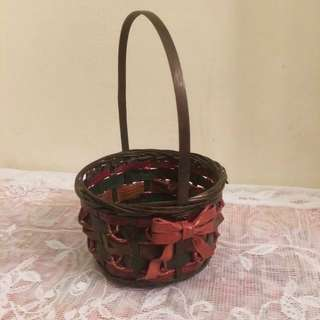 Vintage small sweet green basket red ribbon