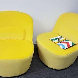 FREE - 2 yellow swivel chairs