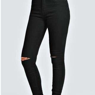 Ripped Knee High Waist Jeans