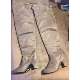 Pair of grey chunky heeled thigh-high boots size 8 brand new!