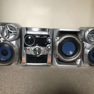 Panasonic stereo system with 2 speakers and subwoofer