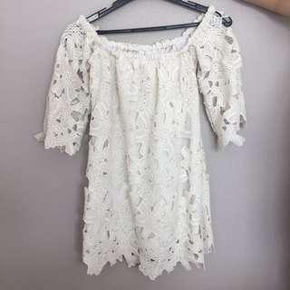 White Lace Off-shoulder Dress