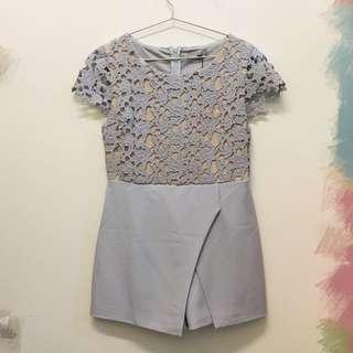 灰紫色蕾絲連身褲裙