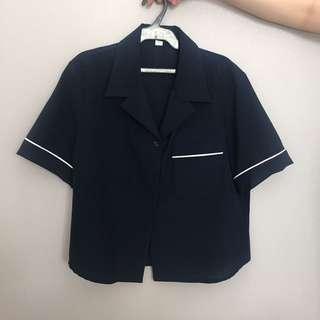 Navy Blue Pajama-Style Top