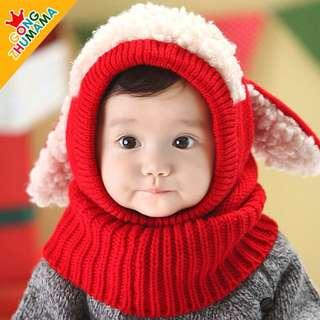 韓版兒童套頭毛線帽秋冬可愛披肩