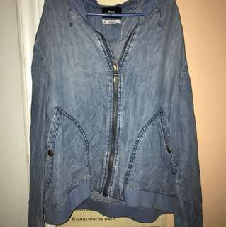 Denim style zip up sweater/jacket