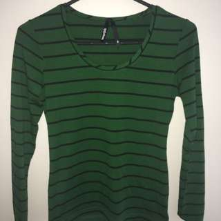 Green/Black Striped Shirt
