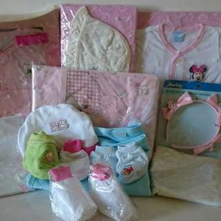 New born baby clothes, gloves, and socks