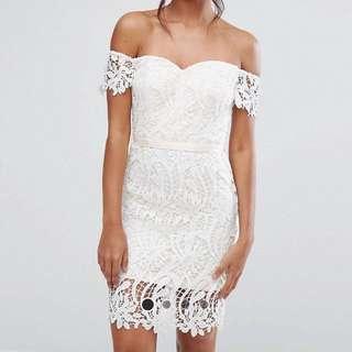 Chi Chi London Lace Bandeu Mini Dress with Sweetheart Neck