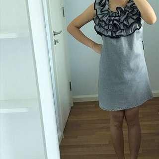 Black & white frills midi dress Zara Mango Mng Inspired Top Shop Forever 21 casual work office summer mini