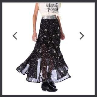 Verge Girl Sheer Stars Maxi Skirt Boho