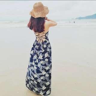 春夏海邊渡假沙灘裙露背綁帶側開叉印花連衣裙