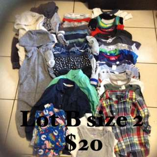 Lot B size 2 boys clothing $20 the lot