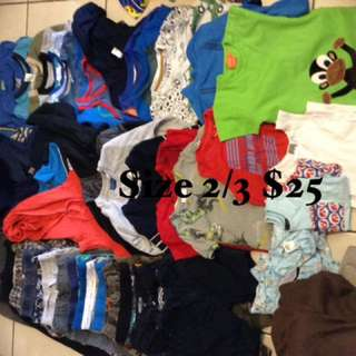 Size 2/3 boys clothing $25
