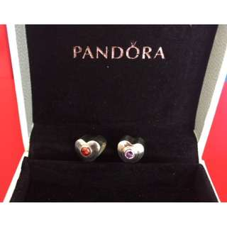 Red and Purple Sparkling Heart Silver Charm - PANDORA