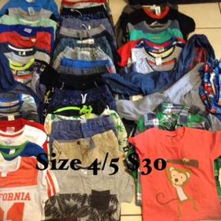 Boys clothing size 4/5 $30 the lot