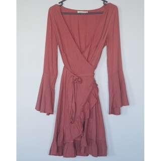 Dark pink wrap dress size 8