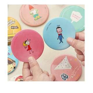 Cermin kaca bulat kecil dandan rias motif kartun lucu murah - KHM103