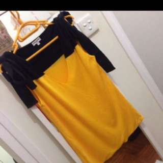 Sonia Rykiel yellow and black color block top with shoulder tie up fits L
