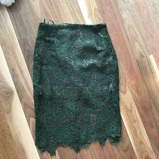 Crochet green skirt